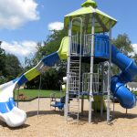 Treehouse play structure and slides at Jamestown Community Park