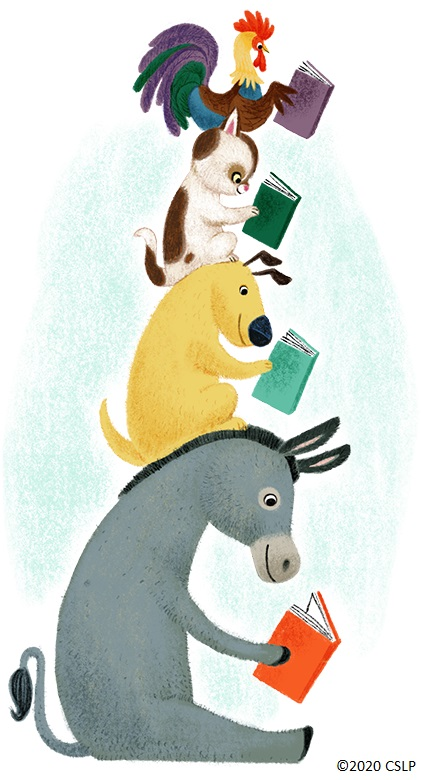 A donkey, dog, cat, and rooster reading books
