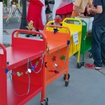 photo of brightly colored book carts