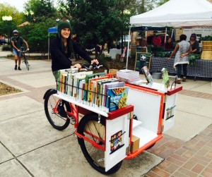 Author Katrin Abel with the new Austin Public Library Bookbike, launched November 2015