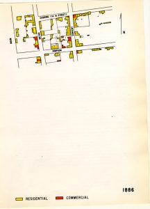 Sanborn fire insurance study map of historic downtown Tucson, 1886.