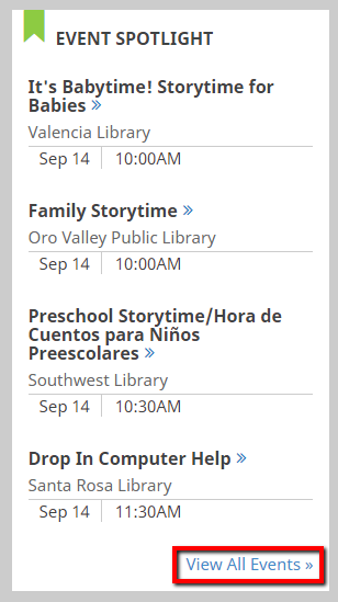 screenshot of the event spotlight on the library home page