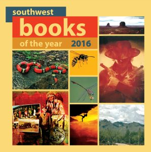 the cover of the print version of southwest books of the year made up of several book covers with a golden yellow background