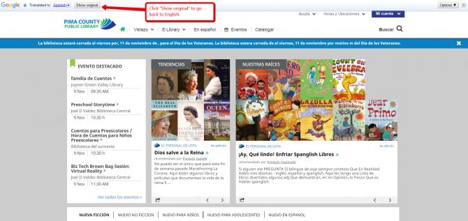 Image of homepage toggle back to English