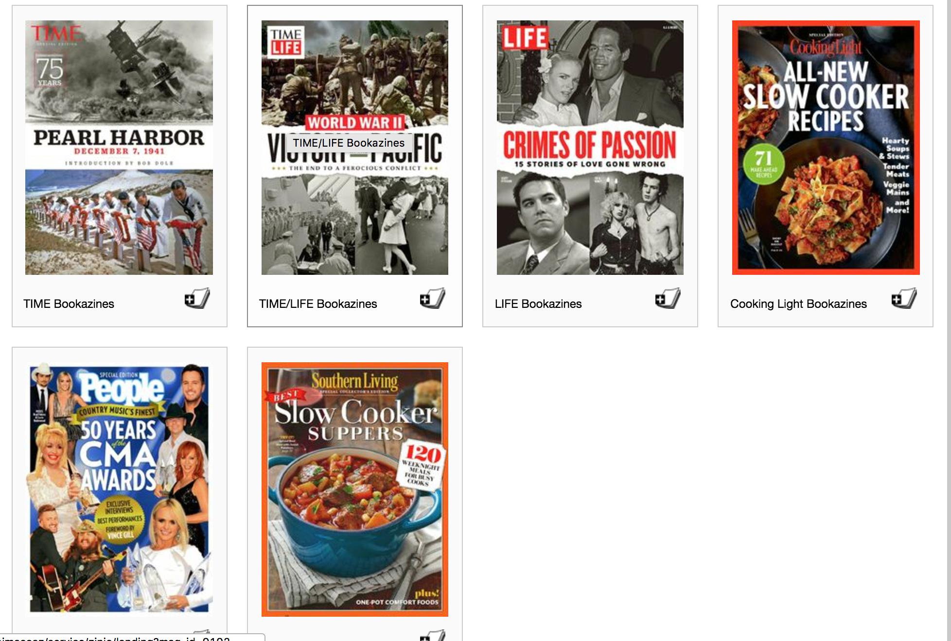 bookazine screenshot of zinio digital magazine service