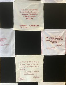 The handkerchiefs are displayed in a checkerboard pattern, on black.