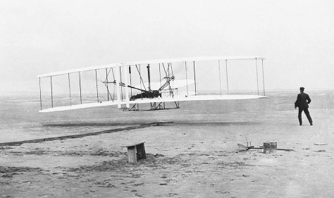 Photograph of the Wright Brothers' first flight in Kitty Hawk, North Carolina, 1903.