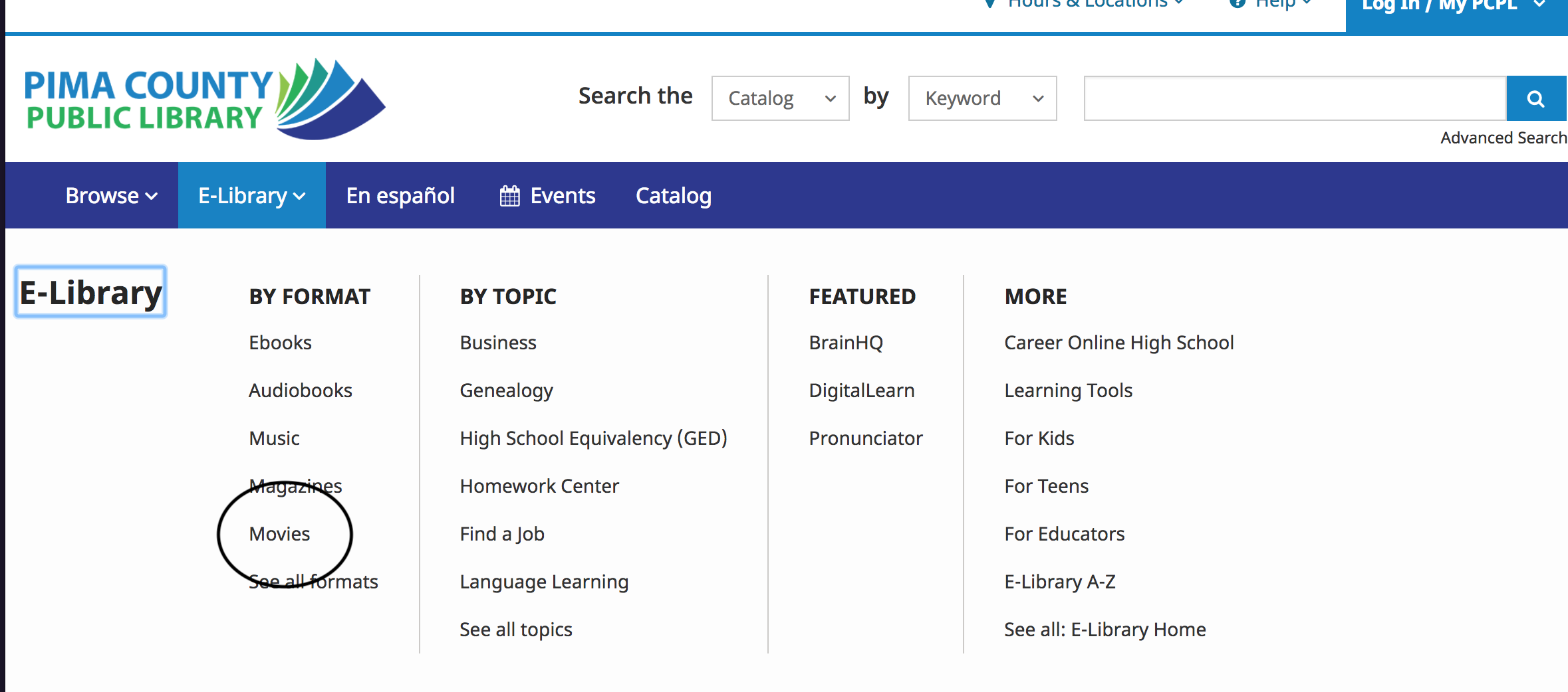 screenshot of library website showing E-Library dropdown with movies circled under format