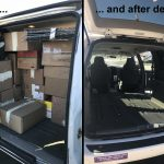 The van, before (full) and after (empty)