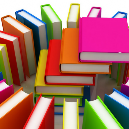 Colorful books in a circle