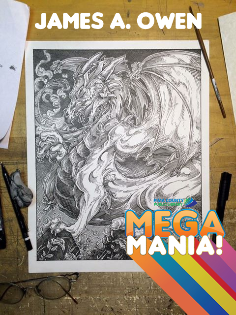 Dragon drawn by James A Owen. Provided by author for Megamania! publicity.