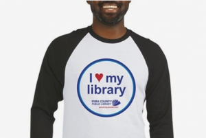 Man wearing I love my library shirt