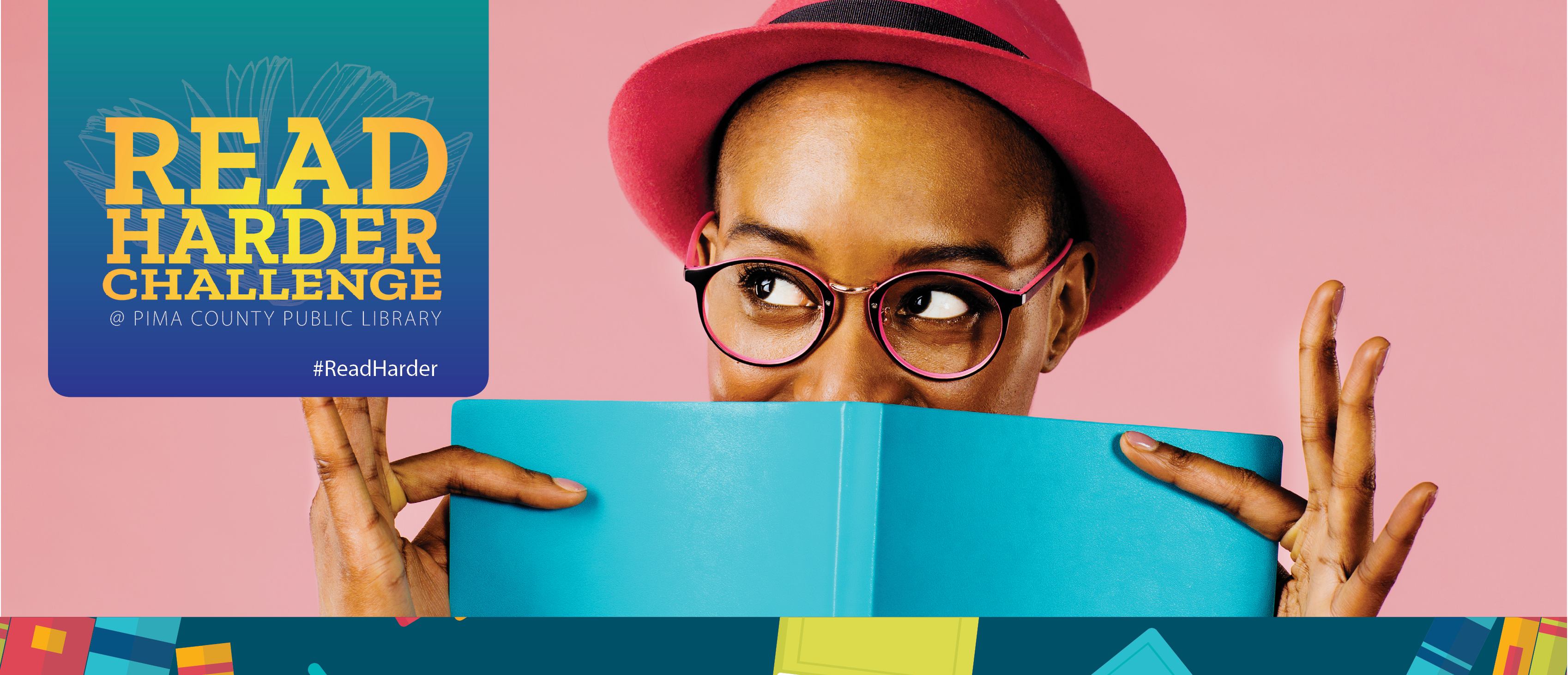 Read Harder website banner with woman looking over top of book