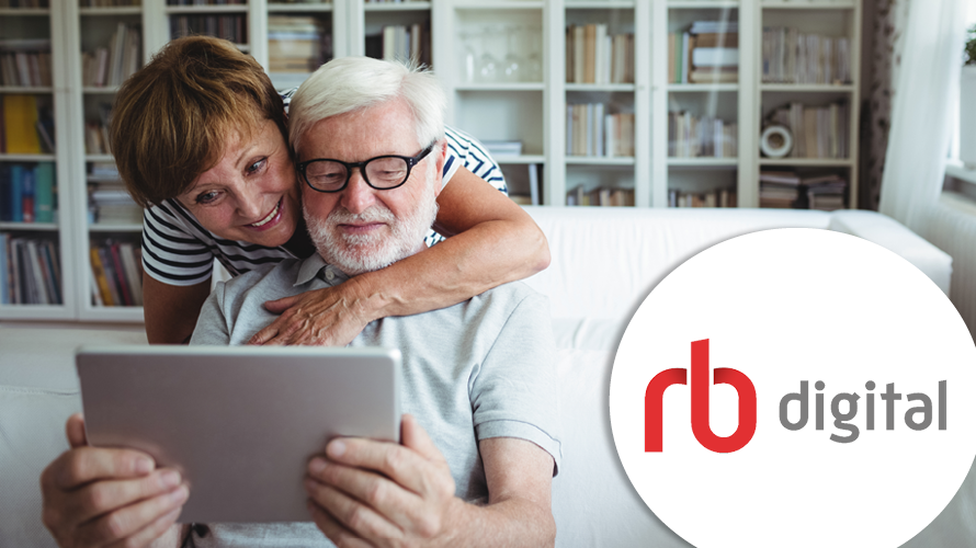 RBdigital logo on an image of a couple in their home
