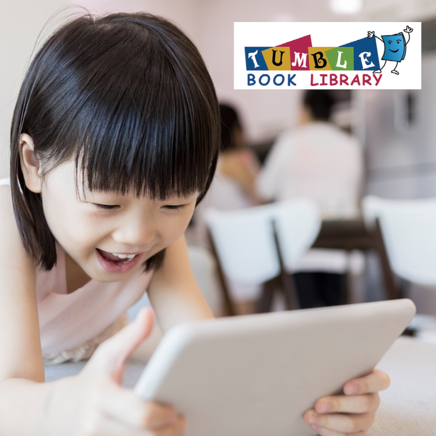 TumbleBook Library image of small girl with a tablet