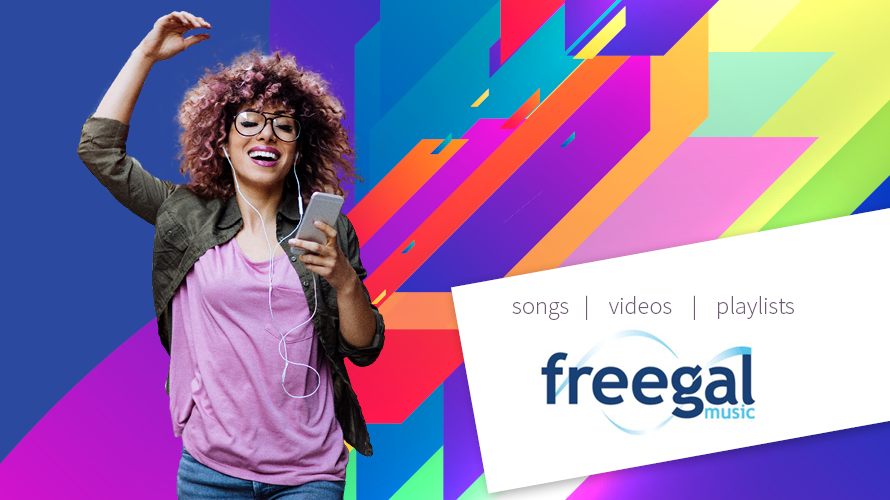 Freegal logo with a woman singing