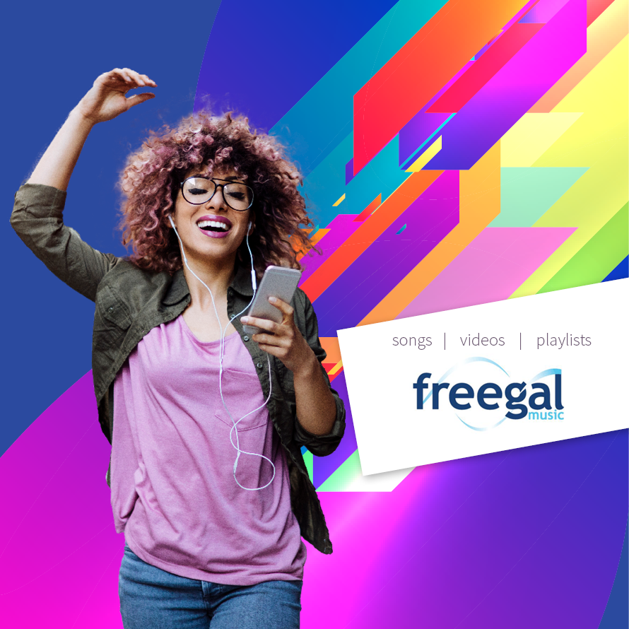 Freegal image with colorful background and a woman singing