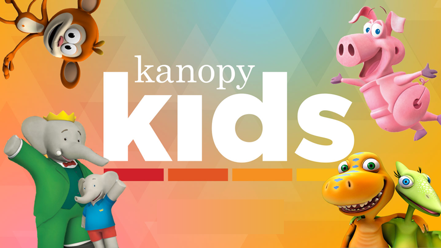 Kanopy Kids image with cartoon characters