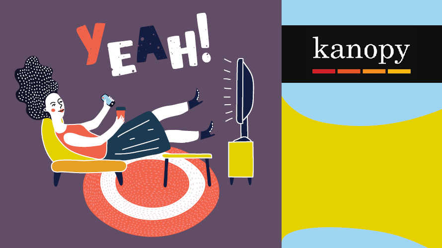 Kanopy logo with illustration of a woman yelling Yeah! and watching tv