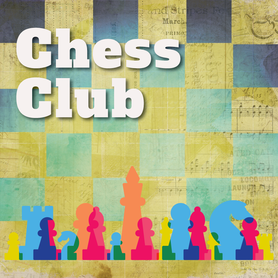 The words Chess Club with silhouettes of multicolored chess pieces