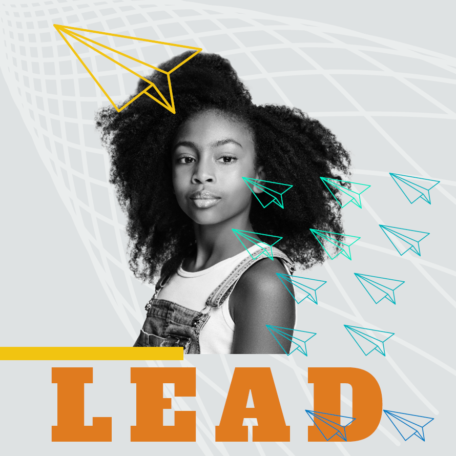 Image of female youth with the word LEAD below
