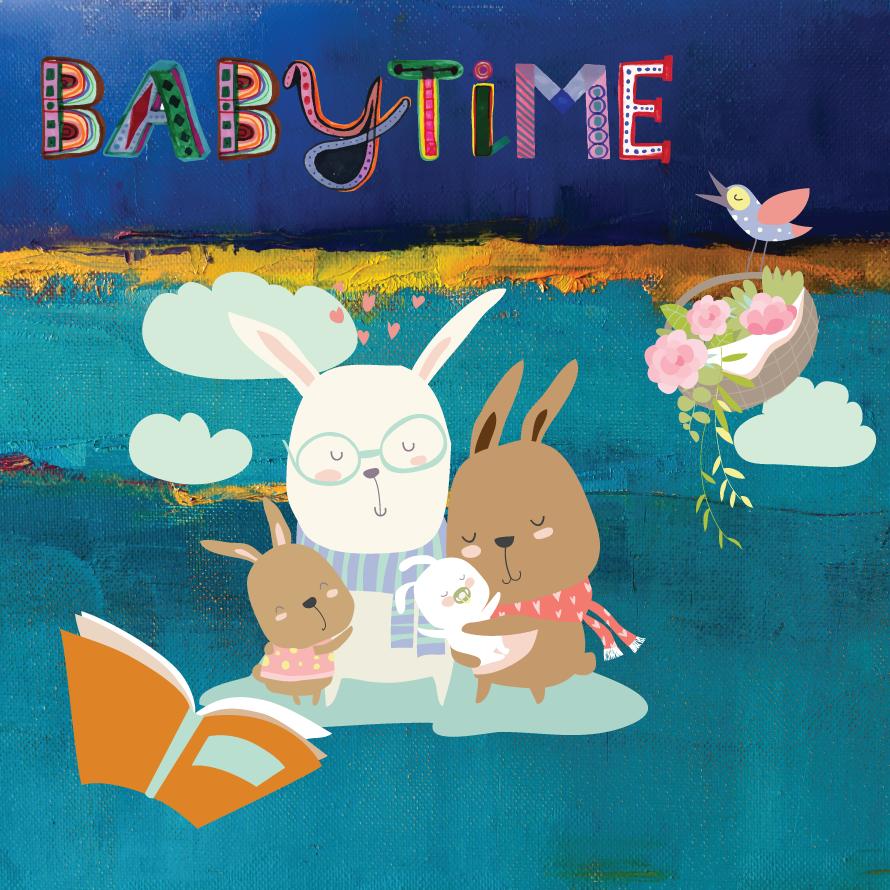 Babytime image of rabbit family reading together