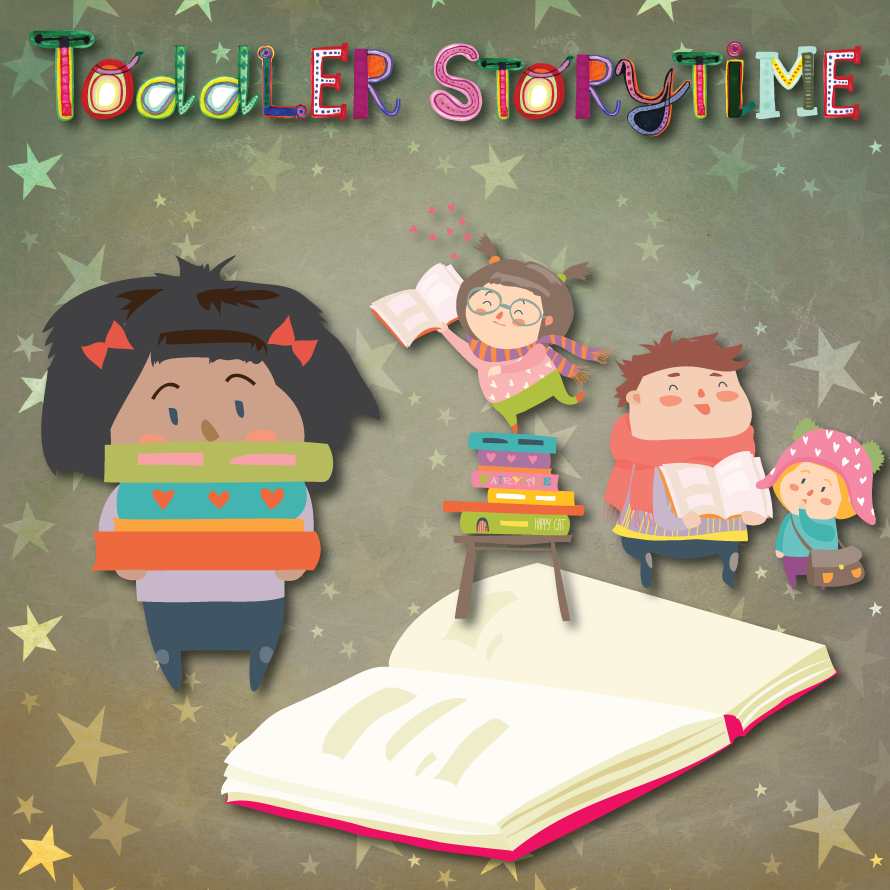 Toddler Storytime image of little ones with a book