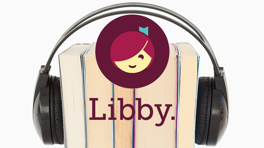 Libby logo with books wearing headphones