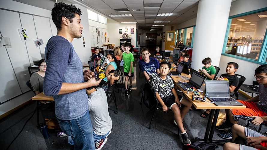 <p>used for community impact plan 2020-2022 priority 3  Students built their very own robot from scratch in this 5-day summer camp!  S.Y.STEM Camp was held at the Joel D. Valdez Main Library, July 15-19, 2019. rThrough this fun, hands-on robotics camp students learned the basics of electrical engineering, mechanical design, and coding. The robots that they built and programmed are able to dance and complete a maze. rThe camp was facilitated by the staff of Southern Arizona S.Y.STEM Coalition.</p>