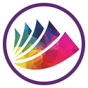 Icon with LGBTQ+ logo in a purple circle