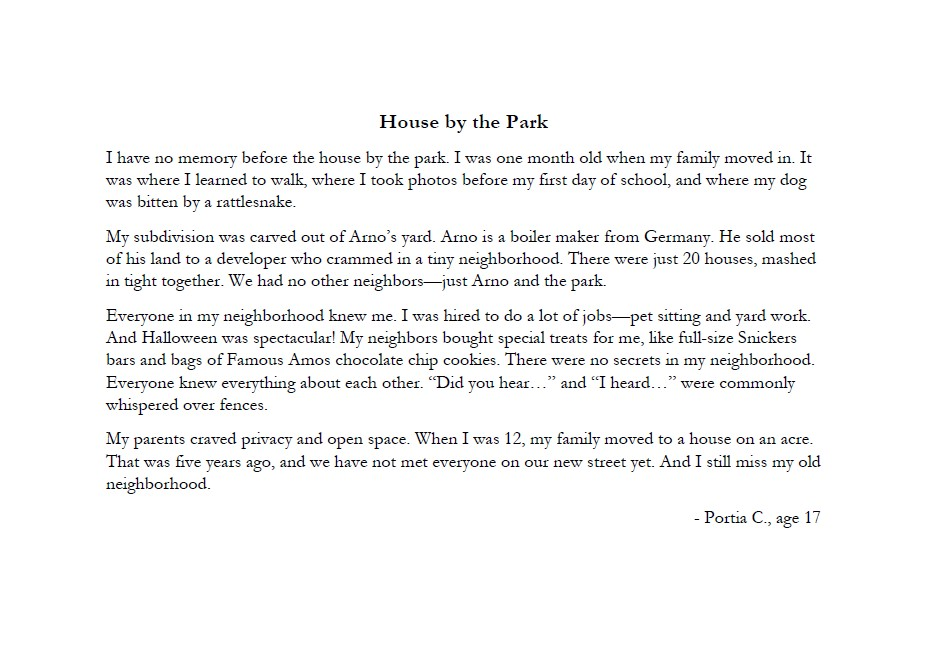 Stories and Art - House by the Park by Portia C age 17