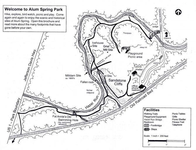 A map of Alum Spring Park, courtesy of Fredericksburg Parks & Recreation