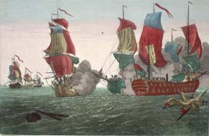Engraving of the battle between Serapis and Bonhomme Richard