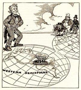 1912 newspaper cartoon representing the Monroe Doctrine