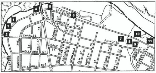 Map of Mill Sites in Fredericksburg