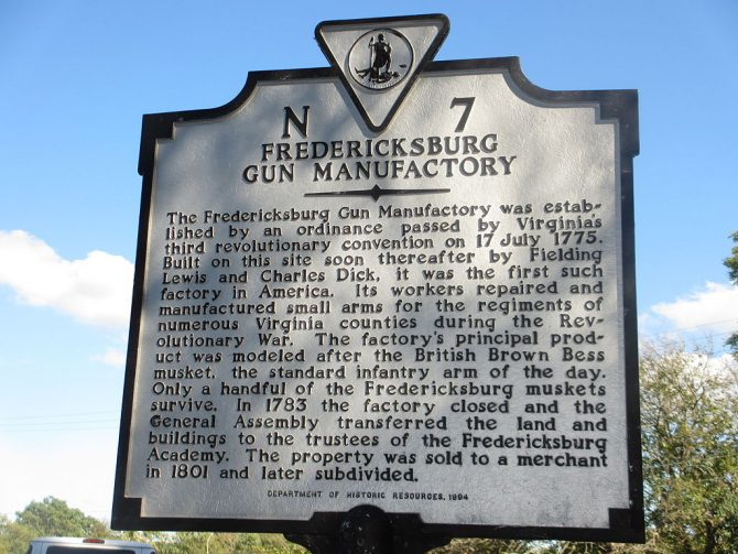 Sign for Fredericksburg Gun Manufactory Site
