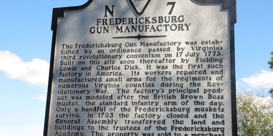 Sign for Fredericksburg Gun Manufactory Site