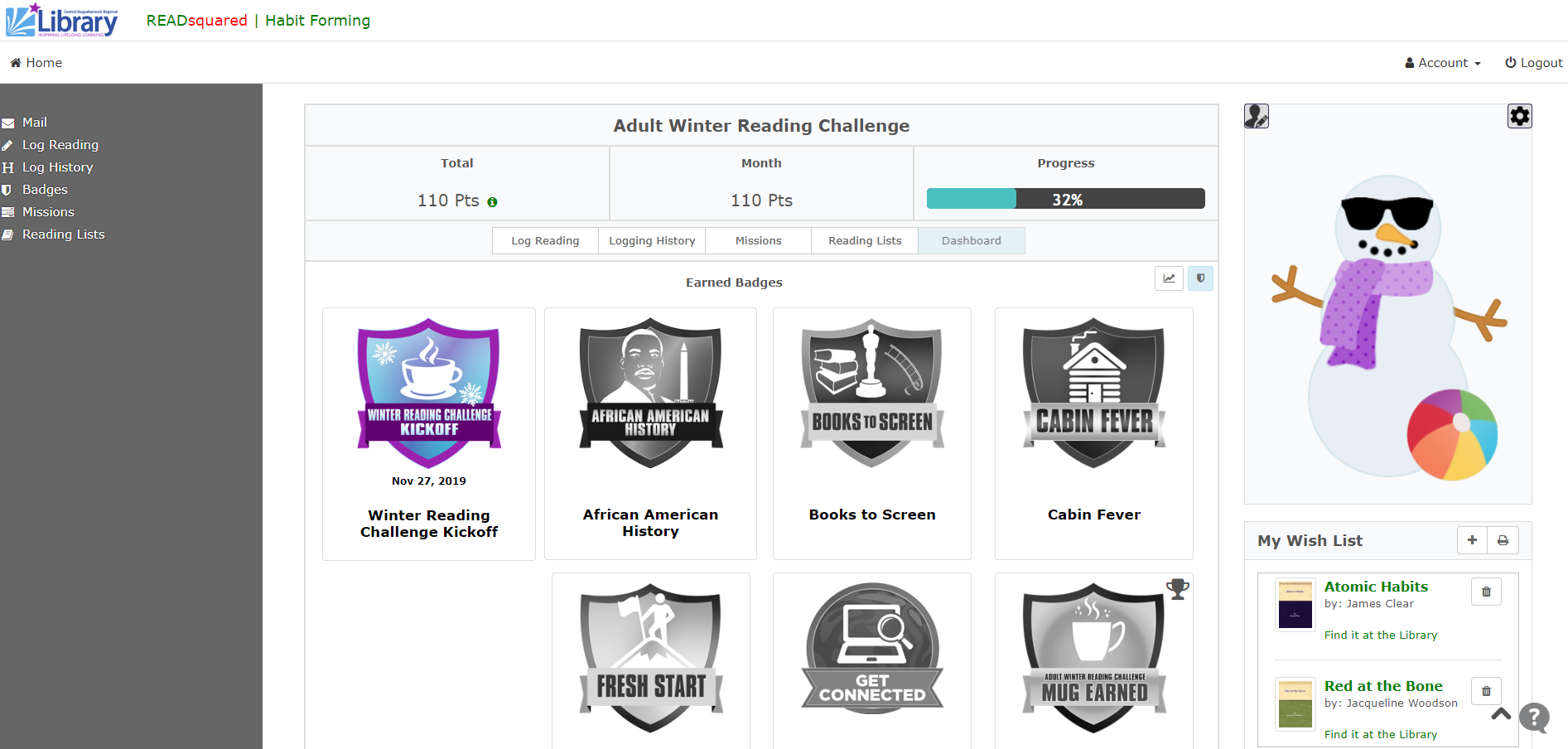 Screenshot of Adult Winter Reading Challenge activity dashboard