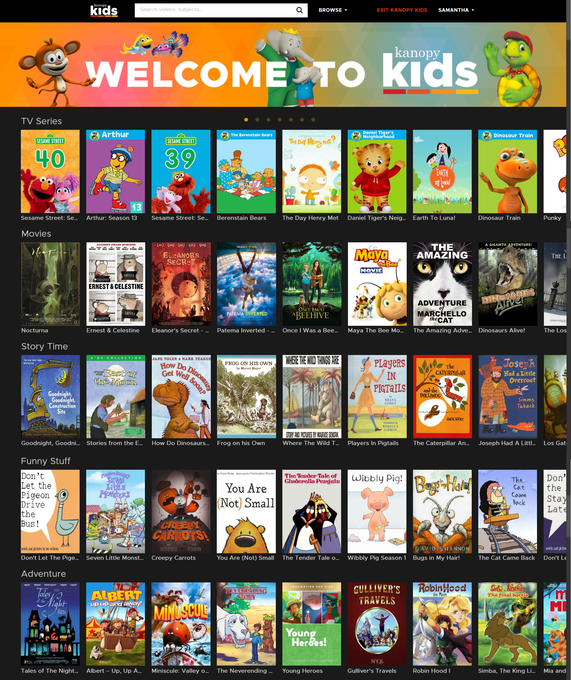 Screenshot of Kanopy Kids homepage