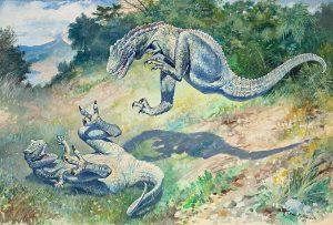 Two Laelaps/Dryptosaurus fighting. Artist's interpretation by Charles R. Knight, 1896.