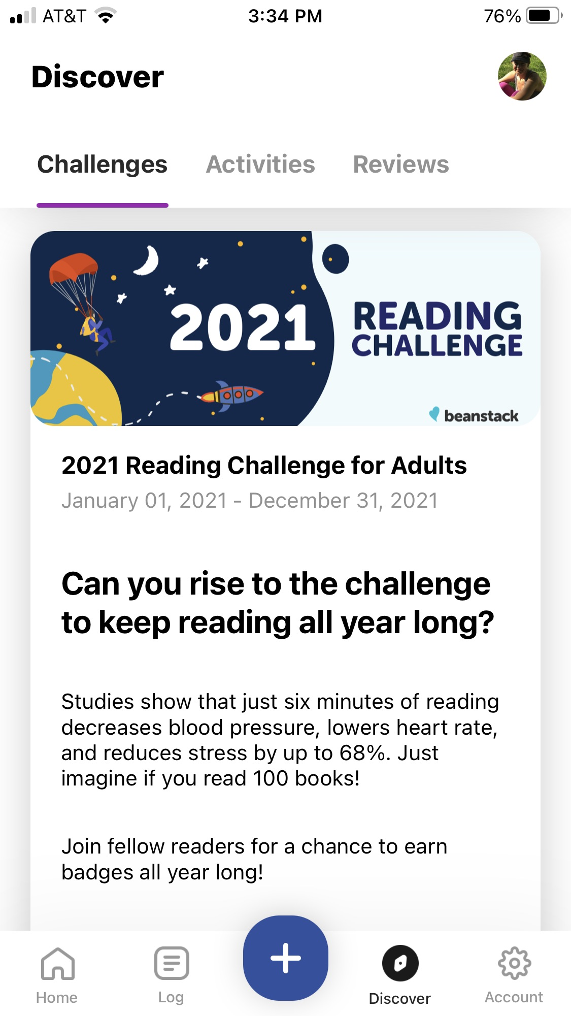 Beanstack Tracker App: Screenshot of reading challenges