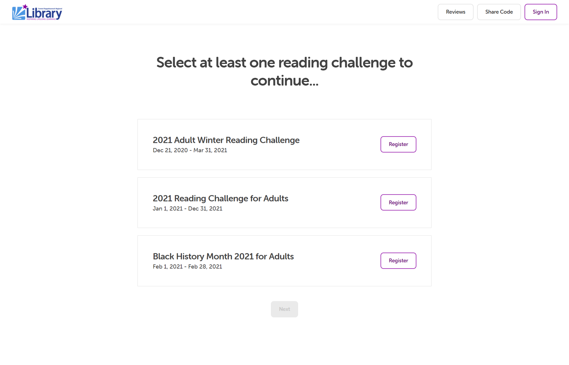 Screenshot of Beanstack challenge select page