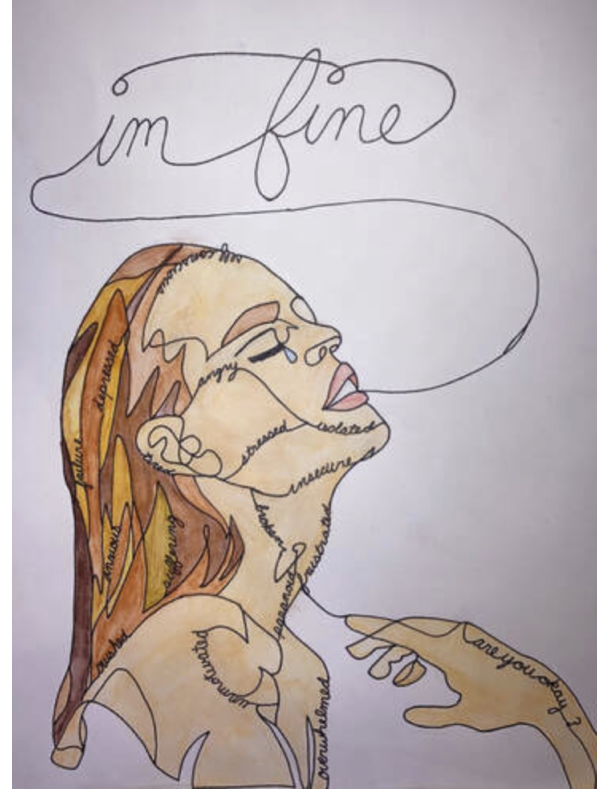 """1st Place, Grade 9-10 """"Conflicted"""" by Charlotte Dreany, Sharpie & watercolor"""