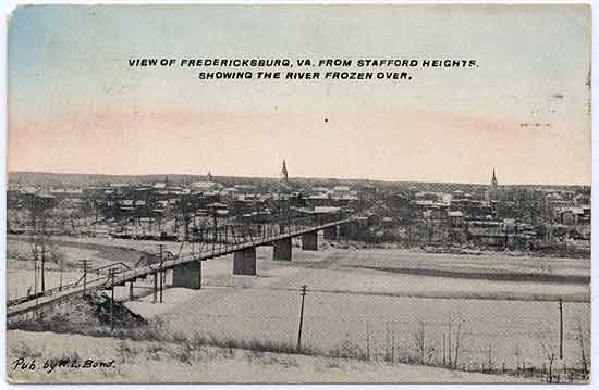 View of Fredericksburg, Va. From Stafford Heights showing the river frozen over.