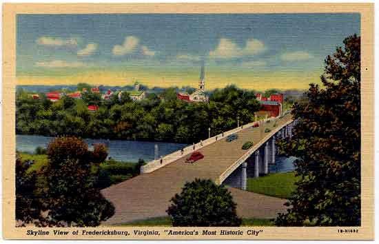 "Skyline View of Fredericksburg, Virginia, ""America's Most Historic City"