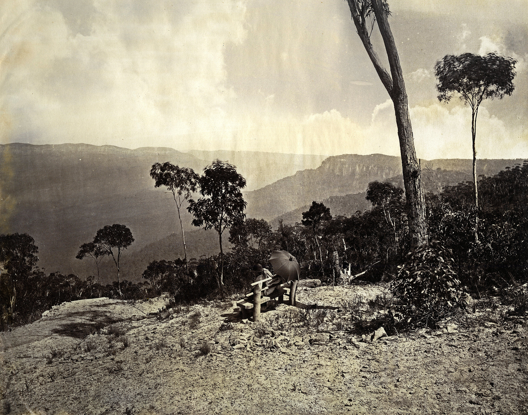 "<p>Date Range: c. 1875     Format: albumen silver photoprint, plate size - 9 ¼"" x 7 ½"" , print size - 230 mm x 192 mm, photographer unidentified.     Location: Wentworth Falls lookout, overlooking Jamison Valley and the waterfall     Licensing: attribution, share alike, creative commons.     Repository: Blue Mountains City Library bmcc.ent.sirsidynix.net.au/client/en_AU/default/     Part of: Local Studies Collection, The J B North Album     Provenance: purchased</p>"