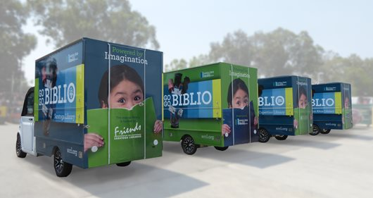 Go Go Biblio vehicles in a row