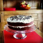 Red Velvet Cake on a Glass Cake Stand