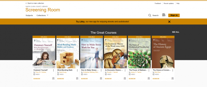 Display of the Great Courses from OverDrive