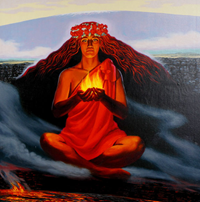 Painting of the goddess Pele by Herb Kane at Hawaii Volcanoes National Park Visitor Center.